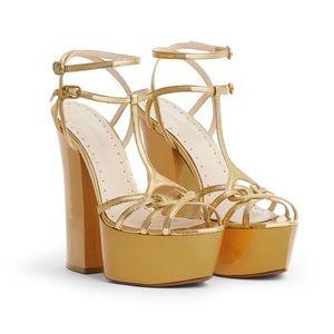 NIB Roberto Cavalli Gold Strappy Platform Heels